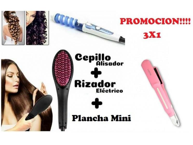 Combo Cepillo Alisador+ Pinza Rizador + Plancha Viajera Nova  Combo ... 2bb628b79829