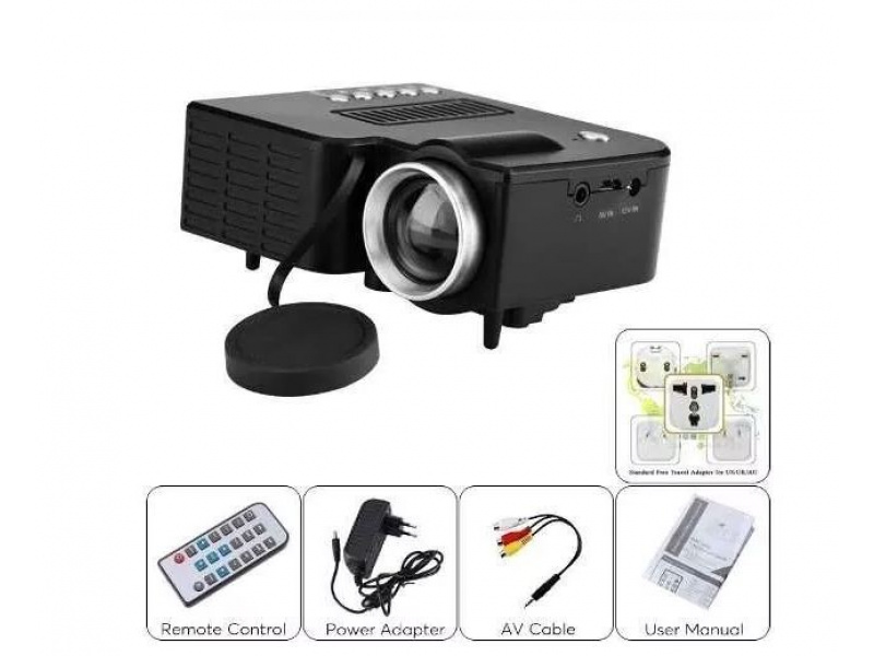 Imagen Mini Led Proyector Hd Video Beam Hdmi Sd + Control Negro