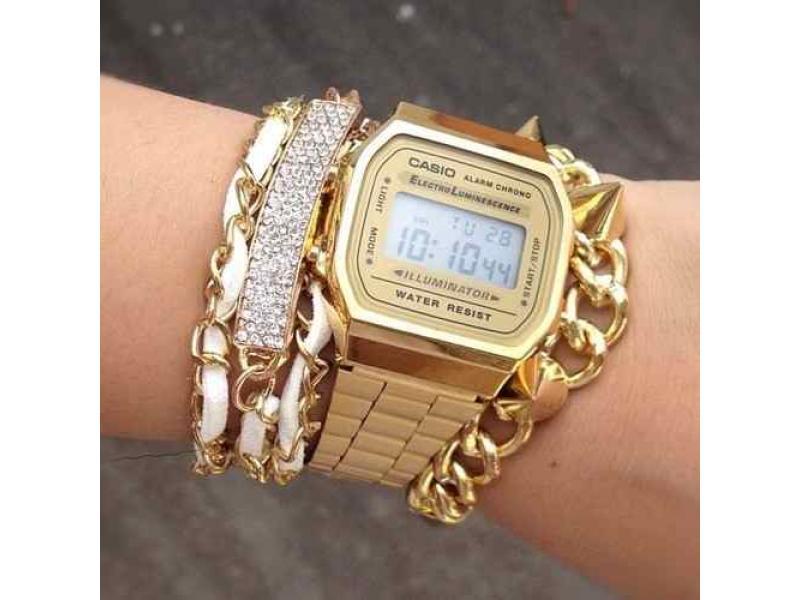 d43434791cd8 Reloj Casio A168 Original Retro Vintage Dorado Mujer  A168 Empresa ...