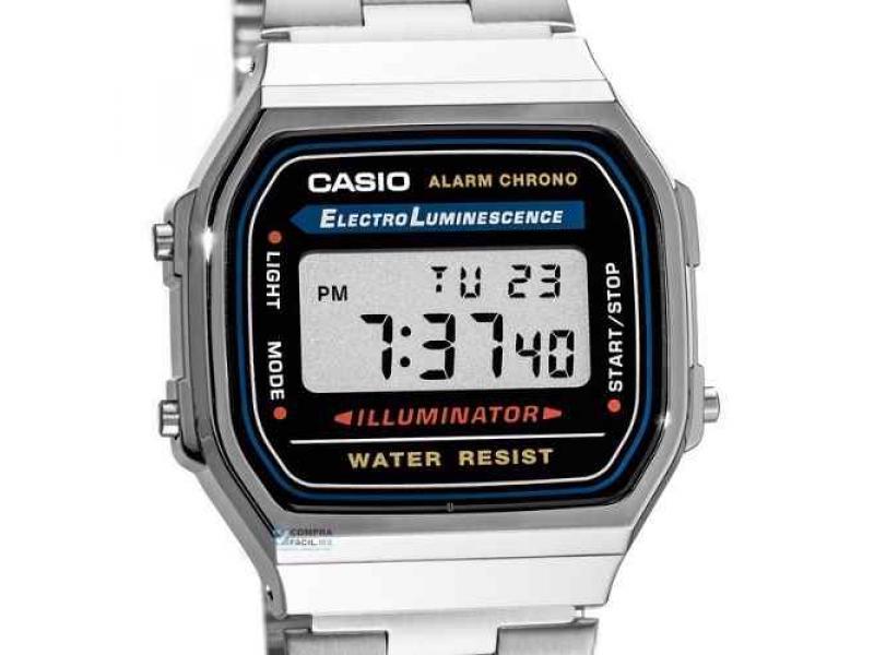 44928fe6f34a Reloj Casio Plateado Dorado A168 Old School Retro Original  A168 ...
