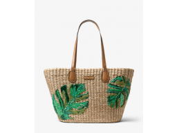 Imagen Bolso Michael Kors Malibu Palm Embroidered Woven Straw Tote 100% Original