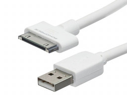 Imagen Cable de Sincronización USB para todas las SlimFit iPad® de 30 pines, iPhone®, iPod® y - Blanco