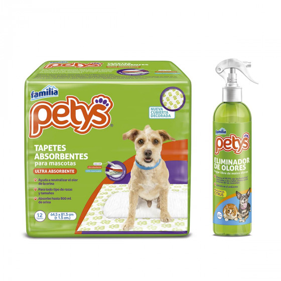 ImagenCombo Tapetes Absorbentes Petys x 12 und + Eliminador Olores Petys x 280 ml