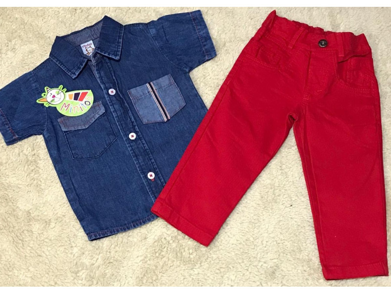 Conjunto Camisa Jeans Y Pantalon Drill Para Nino 1853 Surtibello