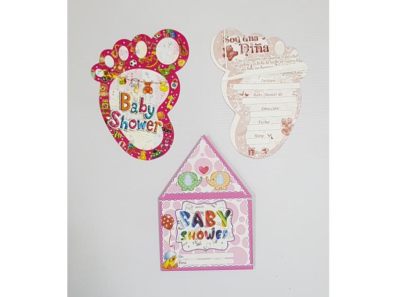 Tarjeta Invitación Baby Shower Niña 100 Tbs1 Happy House