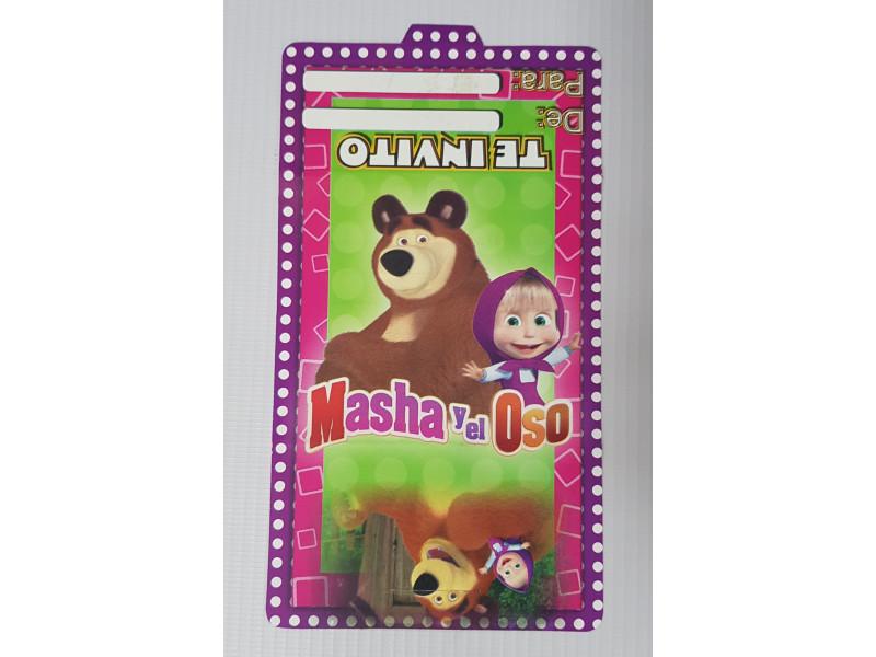 Tarjetas De Invitación Masha Y El Oso 100 Tmo Happy House